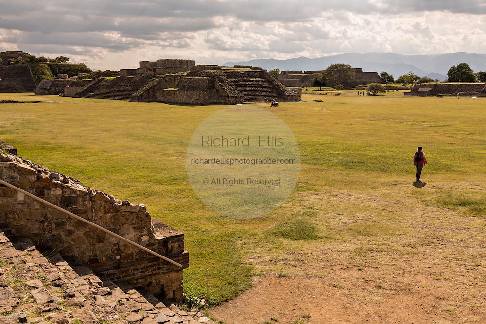 The grand plaza of Monte Albán pre-Columbian archaeological site in the Santa Cruz Xoxocotlán, Oaxaca, Mexico.