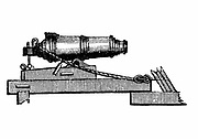 Carronade, short piece of naval ordnance with large calibre chamber, like a mortar. Name said to come from Carron Ironworks, Scotland. Wood engraving, 1850