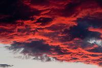 Red sky around Prypiat river, Belarus