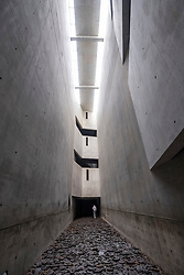 "Memory Void inside Jewish Museum containing work ""Fallen Leaves by artist Menashe Kaddishman; Berlin, Germany"