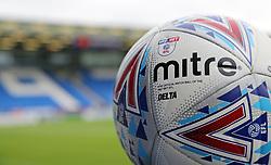 A detail view of the 2017-18 EFL Mitre match ball on display at Peterborough United's ABAX Stadium - Mandatory by-line: Joe Dent/JMP - 15/07/2017 - FOOTBALL - ABAX Stadium - Peterborough, England - Peterborough United v Queens Park Rangers - Pre-season friendly