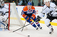 KELOWNA, CANADA - OCTOBER 2: Connor McDavid #97 of the Edmonton Oilers skates behind the net with the puck against Los Angeles Kings on October 2, 2016 at Kal Tire Place in Vernon, British Columbia, Canada.  (Photo by Marissa Baecker/Shoot the Breeze)  *** Local Caption *** Connor McDavid;