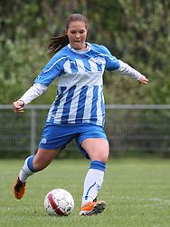 FODBOLD: Line Munk (OB) under kampen i 3F Ligaen mellem Taastrup FC og OB den 12. maj 2012 i Taastrup Idrætspark. Foto: Claus Birch
