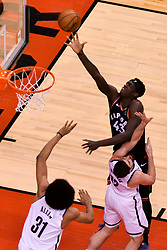 February 11, 2019 - Toronto, Ontario, Canada - Pascal Siakam #43 of the Toronto Raptors shoots the ball during the Toronto Raptors vs Brooklyn Nets NBA regular season game at Scotiabank Arena on February 11, 2019, in Toronto, Canada (Toronto Raptors win 127-125) (Credit Image: © Anatoliy Cherkasov/NurPhoto via ZUMA Press)