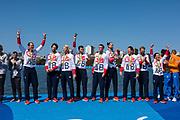 "Rio de Janeiro. BRAZIL     GBR M8+. Gold Medalist Bow. Bow. <br /> Scott DURANT, Tom RANSLEY, T Andrew T<br /> HODGE,  Matt GOTREL,  Pete REED,  Paul<br /> BENNETT,  Matt LANGRIDGE,   William SATCH and Cox. Phelan HILL, at the, 2016 Olympic Rowing Regatta. Lagoa Stadium, Copacabana,  ""Olympic Summer Games""<br /> Rodrigo de Freitas Lagoon, Lagoa. Local Time 12:13:41  Saturday  13/08/2016<br /> [Mandatory Credit; Peter SPURRIER/Intersport Images]"