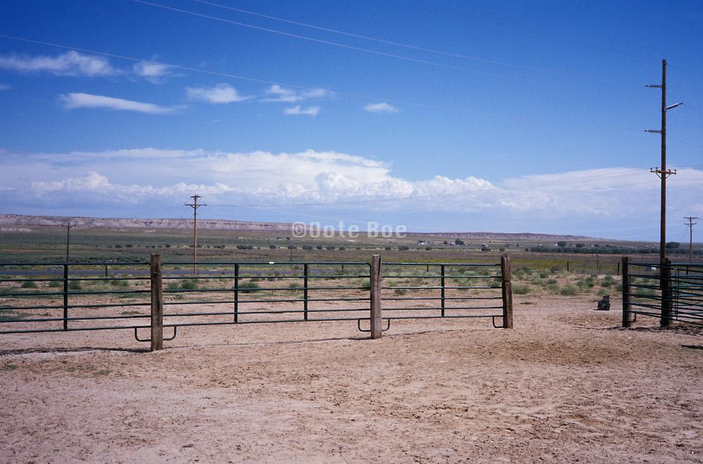 empty corral in the open range