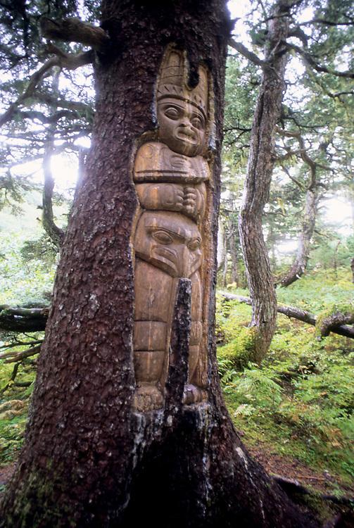 Alaska, Juneau. Alpine trail on Mount Roberts. Living Tlinglit sculpture.