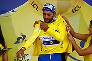 Fernando Gaviria (COL - QuickStep - Floors) yellow jerzey during the Tour de France 2018, Stage 1, Noirmoutier -en-l'île - Fontenay-le-Comte (201km) on July 7th, 2018 - Photo Luca Bettini/ BettiniPhoto / ProSportsImages / DPPI