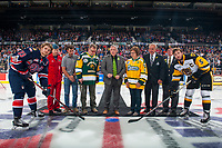 REGINA, SK - MAY 25:  Sam Steel #23 of Regina Pats, Lieutenant Colonel Michael French of the Canadian Armed Forces, Regina Pats Alumni, NY Islanders NHL player Jordan Eberle, Lyle Brons, father of the late Dayna Brons, athletic therapist of the Humbold Broncos, Kevin Garinger, president of the Humboldt Broncos, Carol Brons, mother of the late Dayna Brons, Guy Lafleur, honorary captain of 2018 MasterCard Memoria Cup, Ron Hitchcock of the Royal Canadian Legion, Justin Lemcke #5 of Hamilton Bulldogs at the Brandt Centre on May 25, 2018 in Regina, Canada. (Photo by Marissa Baecker/CHL Images)