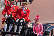 """The Duchess of Cambridge returns - Trooping the Colour by the Irish Guards on the Queen's Birthday Parade. The Queen's Colour is """"Trooped"""" in front of Her Majesty The Queen and all the Royal Colonels.  His Royal Highness The Duke of Cambridge takes the Colonel's Review for the first time on Horse Guards Parade riding his horse Wellesley. The Irish Guards are led out by their famous wolfhound mascot Domhnall and more than one thousand Household Division soldiers perform their ceremonial duty. The Soldiers will parade in the traditional ceremonial uniforms of the Household Cavalry, Royal Horse Artillery, and Foot Guards. They are accompanied by the Household Division Bands & Corps of Drums. London 17th June 2017."""