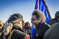 December 4, 2016 - Cannonball, North Dakota, United States - Dr. Cornel West reacts to the news on the notorious Highway 1806. The Showdown at Standing Rock is a win for Native Tribes. The U.S. Army Corps of Engineers turned down a key permit for a the Dakota Access Pipeline that was slated to drill beneath the Missouri River and through sacred Sioux grounds. Many consider this a historic victory for Native Americans and climate activists who have protested the project for months. (Credit Image: © Michael Nigro/Pacific Press via ZUMA Wire)