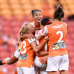 BRISBANE, AUSTRALIA - NOVEMBER 17: Hayley Raso of the Roar celebrates scoring a goal during the round 4 Westfield W-League match between the Brisbane Roar and Adelaide United at Suncorp Stadium on November 17, 2017 in Brisbane, Australia. (Photo by Patrick Kearney / Brisbane Roar)
