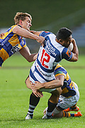 Auckland player TJ Faiane on the charge against Bay of Plenty during the Mitre 10 Cup match played at Rotorua International Stadium in Rotorua on Friday 2nd October 2020.<br /> Copyright photo: Alan Gibson / www.photosport.nz