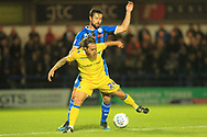 Joe Rafferty and Stuart Sinclair during the EFL Sky Bet League 1 match between Rochdale and Bristol Rovers at Spotland, Rochdale, England on 2 October 2018.