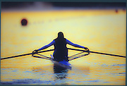 Sydney. AUSTRALIA. 2000 Summer Olympic Regatta, Penrith. NSW.  <br /> <br /> GBR W1X Akison MOWBRAY, checks, her oar gates. Sunrise at the  Sydney International Regatta Centre (SIRC), as crews boat to start there training sessions.<br /> [Clarity removed]<br /> [Mandatory Credit Peter SPURRIER/ Intersport Images] Sydney International Regatta Centre (SIRC) 2000 Olympic Rowing Regatta00085138.tif
