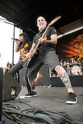 Anthrax performing at Mayhem Fest 2012 at Verizon Wireless Amphitheater in St. Louis, Missouri on July 20, 2012.