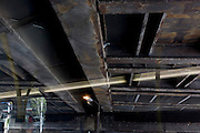 Lone pigeon perched on a steel girder on the underside of a railway bridge in south London.