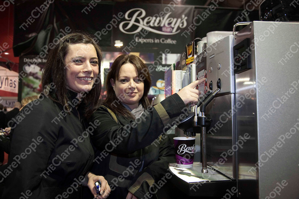 Coffee lovers in Clare are in safe hands with Sinead Dowling of Peppermills Restaurant in Ennis who recently attended the Bewley?s stand at Catex ? Ireland?s National Catering Exhibition in Dublin.   Sinead is pictured getting some top coffee making tips from Bewley's Regional Sales Manager Sheila Dowling.