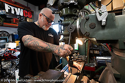 Chopper Dave Frestonchopp at his shop. Hawaiian Gardens, CA. USA. Tuesday June 26, 2018. Photography ©2018 Michael Lichter.