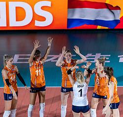 20-10-2018 JPN: Final World Championship Volleyball Women day 18, Yokohama<br /> China - Netherlands 3-0 / Laura Dijkema #14 of Netherlands, Anne Buijs #11 of Netherlands, Lonneke Sloetjes #10 of Netherlands, Maret Balkestein-Grothues #6 of Netherlands, Yvon Belien #3 of Netherlands
