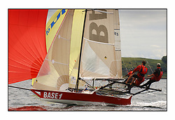 The 2004 Skiff Nationals at Largs held by the SSI.<br /> <br /> Base 1 helmed by Rob Dulson<br /> <br /> Marc Turner / PFM Pictures