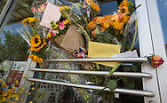July 25, 2015 in Lafayette, Louisiana. Flowers left at a makeshift memorial outside of a store owned by one of the victims, Jillian Johnson. Two people were killed and nine wounded when a shooter identified as John Russell Houser, opened fire in The Grand 16 cinema on July 24. Houseer killed himself.
