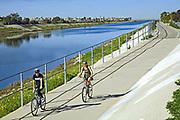 Bicycle path along Ballona Creek, Los Angeles, Calififornia, USA