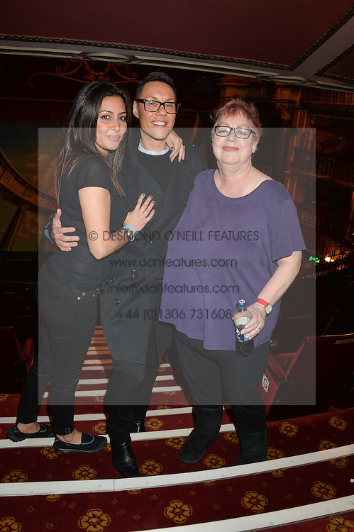 Left to right, LAILA ROUASS, GOK WAN and JO BRAND at a VIP evening for the pantomime Aladdin at The New Wimbledon Theatre, The Broadway, Wimbledon, London SW19 on 9th December 2013.