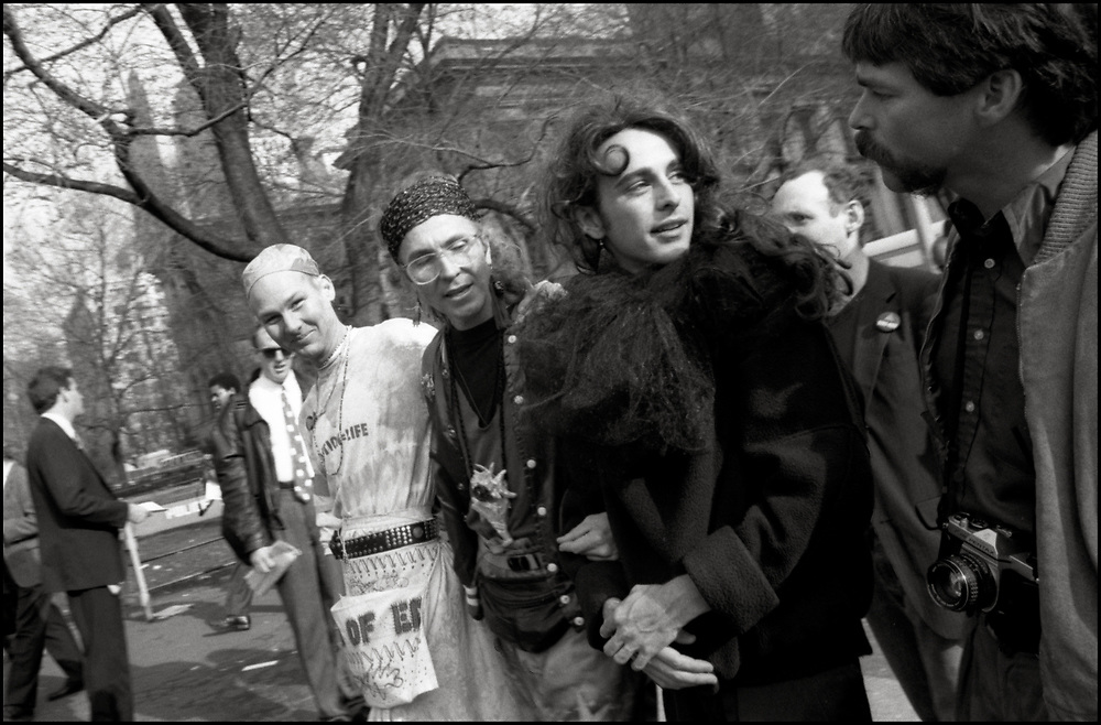 On March 28th, 1989, Mickey Wheatley, Garron Edmund and Gabriel Quirk of ACT UP descended on New York City Hall to protest the inadequacy of New York City's AIDS policies under Mayor Ed Koch.