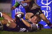 Photo Peter Spurrier<br />04/02/2003<br />Betfair Challenge Rugby - NEC  Harlequins vThe Sharks<br />Sharks Captain, AJ Venter, passes the ball off the floor, , The Stoop Memorial Ground, [Mandatory Credit: Peter Spurrier/Intersport Images],