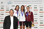 Paolo BArelli, <br /> Boglarka Kapas Hungary HUN Silver medal, <br /> Simona Quadarella Italy ITA Gold medal, <br /> Giulia Gabbrielleschi Fiamme Oro Nuotatori Pistoiesi Bronze Medal <br /> Women's 1500m Freestyle <br /> Roma 21/06/2019 Stadio del Nuoto Foro Italico <br /> FIN 56 Trofeo Sette Colli 2019 Internazionali d'Italia<br /> Photo Andrea Staccioli/Deepbluemedia/Insidefoto