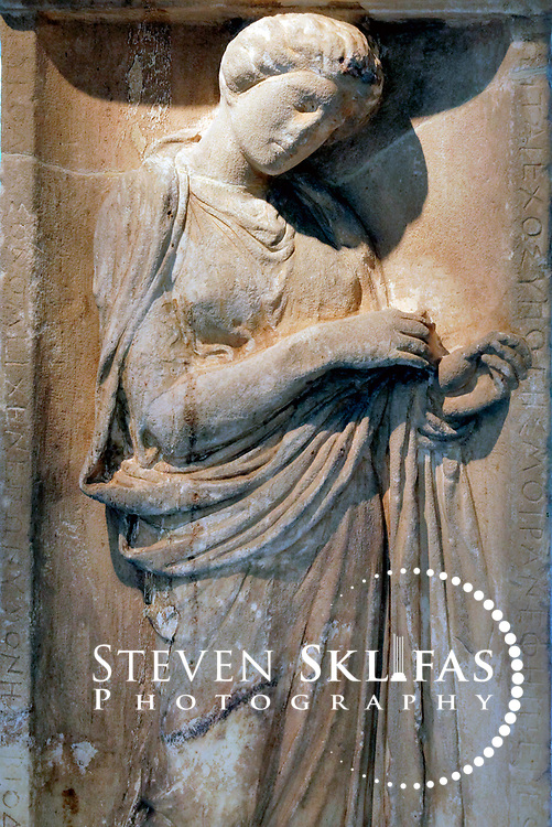 Grave relief of Eukoline, daughter of Antiphanes from 380 BC. Kerameikos museum. Athens. Greece.