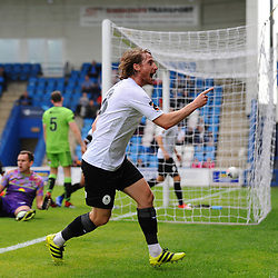 TELFORD COPYRIGHT MIKE SHERIDAN GOAL. James McQuilkin celebrates after his effort is deflected home to make it 3-1 during the National League North fixture between AFC Telford United and Kings Lynn Town at the Bucks Head on Tuesday, August 13, 2019<br /> <br /> Picture credit: Mike Sheridan<br /> <br /> MS201920-009