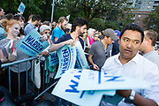 """New York, NY – 16 September 2019. Massachusetts Senator and Democratic Presidential candidate Elizabeth Warren drew a large and enthusiastic crowd at a speech for her increasingly popular 2020 presidential campaign in New York's Washington Square. Volunteers handed out """"I'm a Warren Democrat"""" signs prior to her appearance."""