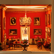 A scale model of the real White House is on display at the Reagan Library in Simi Valley, California. This is the Red Room