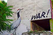 Athens, Greece, Graffiti of a gray crane and the word war on a wall of an old deserted and dilapidated building
