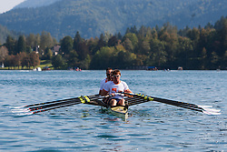 Iztok Cop (stroke), Jüri Jaanson, Vaclav Chalupa and Davor Mizerit (bow) during rowing at Slovenian National Championship and farewell of Iztok Cop, on September 22, 2012 at Lake Bled, Ljubljana Slovenia. (Photo By Matic Klansek Velej / Sportida)