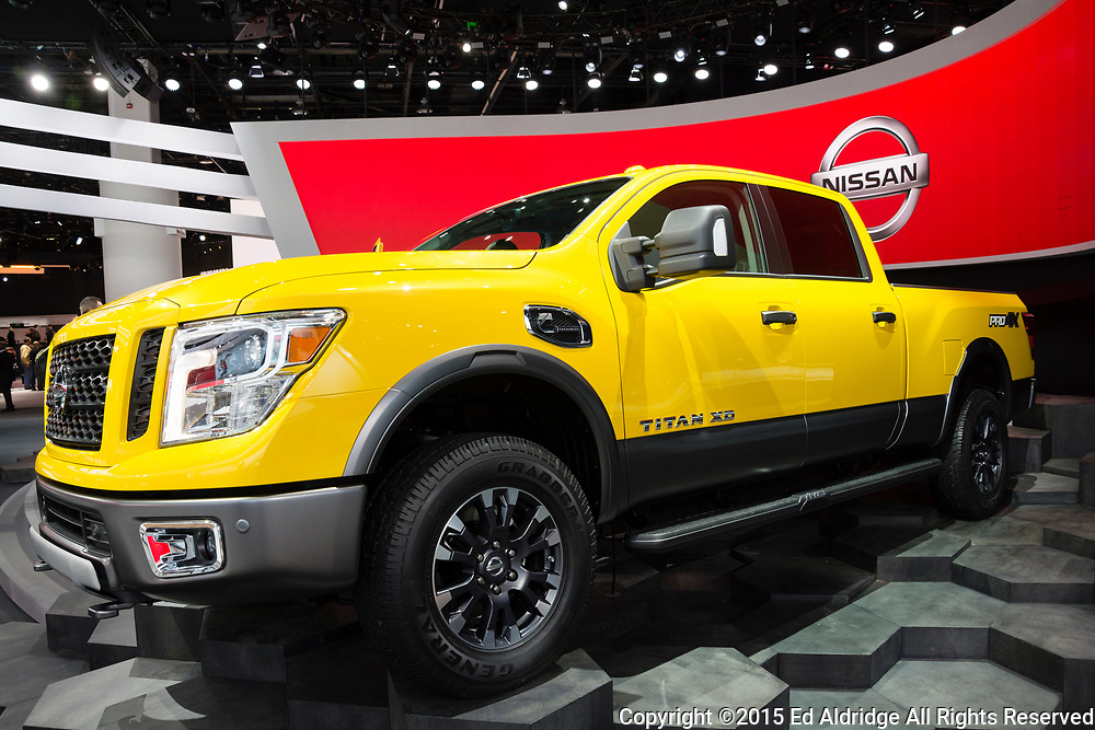 DETROIT, MI, USA - JANUARY 12, 2015: Nissan Titan on display during the 2015 Detroit International Auto Show at the COBO Center in downtown Detroit.