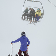 Hadley Hammer takes on the hecklers of the Sublette Chairlift at JHMR.