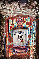 This old vintage Bennett gas pump sits rusting away in New Mexico and was phtographed in 2011. <br /> <br /> It is an HDR image that was also processed using Silver Efex Pro, Photoshop, as well as a separate textured photo that was blended into the entire image.