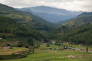 Dhading district. 80% of the district is farmland with the highest mountains peaking at 8000 m. Rainy season with low hanging clouds obscuring the view of the Himalayas.