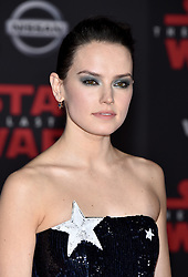Daisy Ridley attends the world premiere of Disney Pictures and Lucasfilm's 'Star Wars: The Last Jedi' at The Shrine Auditorium on December 9, 2017 in Los Angeles, California. Photo by Lionel Hahn/ABACAPRESS.COM