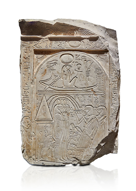 """Ancient Egyptian stele of sculptor Qen, limestone, New Kingdom, 19th Dynasty, (1279-1213 BC), Deir el-Medina, Old Fund cat 1635. Egyptian Museum, Turin. white background<br /> <br /> This stele belongs to the """"painter of outlines' and sculptor Qen who lived in the reign of Ramesses II. It depicrs a funeral celebration for him infront of funerary chapel with his sond Meryre and Huy, who are performing the """"ceremony of Opening of the Mouth"""". His daughter Taqri is depicted grieving over the loss of her father. The chapel is summounted by a Pyramidion. .<br /> <br /> If you prefer to buy from our ALAMY PHOTO LIBRARY  Collection visit : https://www.alamy.com/portfolio/paul-williams-funkystock/ancient-egyptian-art-artefacts.html  . Type -   Turin   - into the LOWER SEARCH WITHIN GALLERY box. Refine search by adding background colour, subject etc<br /> <br /> Visit our ANCIENT WORLD PHOTO COLLECTIONS for more photos to download or buy as wall art prints https://funkystock.photoshelter.com/gallery-collection/Ancient-World-Art-Antiquities-Historic-Sites-Pictures-Images-of/C00006u26yqSkDOM"""