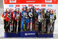 Skiskyting<br /> IBU World Cup<br /> Oberhof Tyskland<br /> 04.01.2013<br /> Foto: Gepa/Digitalsport<br /> NORWAY ONLY<br /> <br /> IBU Weltcup, 4x7,5km Staffel der Herren. <br /> <br /> Bild zeigt Team Norwegen mit Henrik L' Abee-Lund, Erlend Bjøntegaard, Emil Hegle Svendsen und Ole Einar Bjørndalen (NOR); Team Russland mit Alexey Volkov, Evgeniy Garanichev, Anton Shipulin und Dmitry Malyshko (RUS); Team Deutschland mit Simon Schempp, Arnd Peiffer, Erik Lesser und Florian Graf (GER).