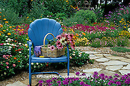 63821-08011 Cut bouquet in basket on blue chair in flower garden  Marion Co.  IL