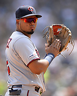 CHICAGO - JULY 28:  Luis Arraez #2 of the Minnesota Twins looks on against the Chicago White Sox on July 28, 2019 at Guaranteed Rate Field in Chicago, Illinois.  (Photo by Ron Vesely)  Subject:   Luis Arraez