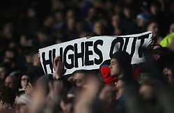 Stoke fans with a Hughes Out banner - Mandatory by-line: Jack Phillips/JMP - 26/12/2017 - FOOTBALL - The John Smith's Stadium - Huddersfield, England - Huddersfield Town v Stoke City - English Premier League