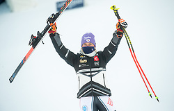 Second placed Tessa Worley (FRA) celebrates during 2nd Run of Ladies' Giant Slalom at 57th Golden Fox event at Audi FIS Ski World Cup 2020/21, on January 16, 2021 in Podkoren, Kranjska Gora, Slovenia. Photo by Vid Ponikvar / Sportida