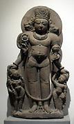 Vishnu caturmurti.12th century sandstone sculpture from Jammu and Kashmir, India
