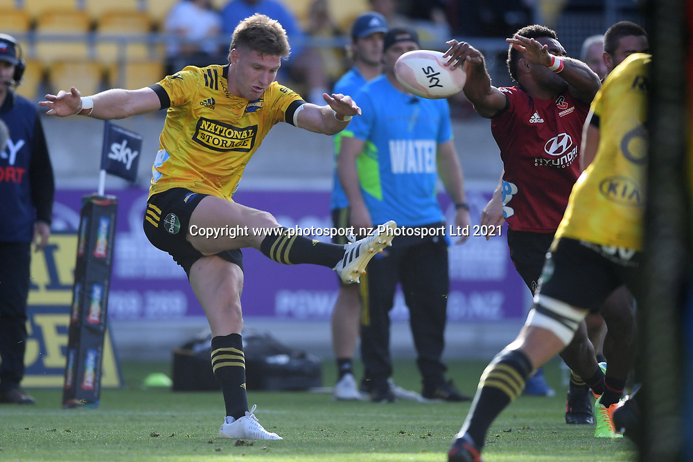 Hurricanes Jordie Barrett has a kick charged down in the Super Rugby match, Hurricanes v Crusaders, Sky Stadium, Wellington, Sunday, April 11, 2021. Copyright photo: Kerry Marshall / www.photosport.nz